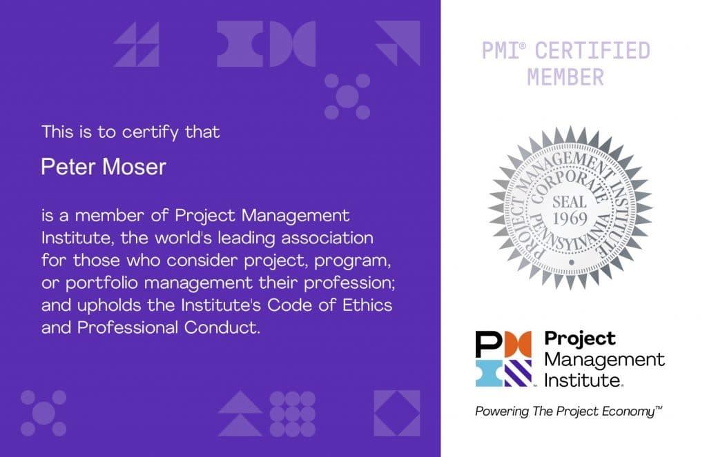 Peter Moser ist Mitglied beim PMI